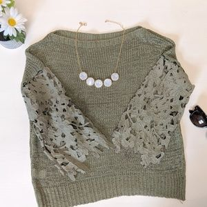 Olive Green Cropped Sweater - Size S